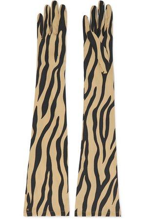 Gucci   Zebra-print stretch-silk twill gloves   NET-A-PORTER.COM