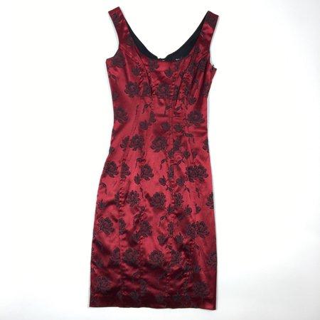 Y2K shiny sleeveless red rose bodycon mini dress (S)... - Depop