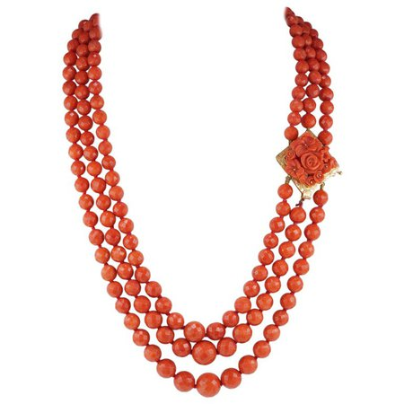 Magnificent Triple Strand Natural Mediterranean Coral Necklace For Sale at 1stdibs