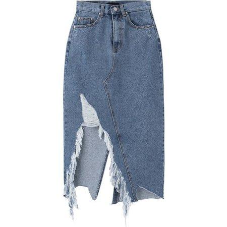 Damaged Slit Midaxi Denim Skirt