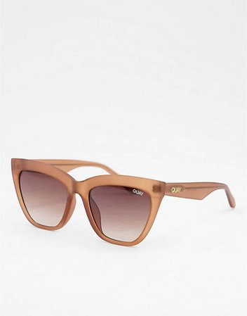 Quay For Keeps womens cat eye sunglasses in beige | ASOS