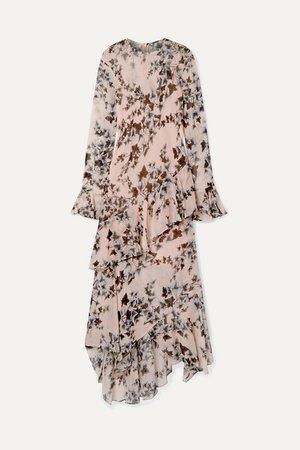 Ruffled Floral-print Crepe De Chine Midi Dress - Baby pink