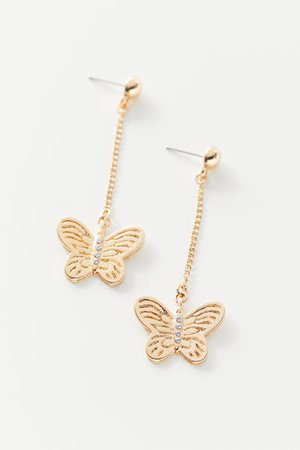 Butterfly Drop Chain Earring | Urban Outfitters