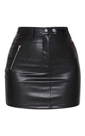 *clipped by @luci-her* Black Biker Pu Mini Skirt   Co-Ords   PrettyLittleThing USA