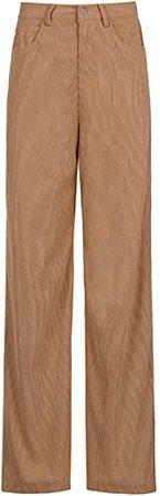 Women E-Girl High Waist Corduroy Y2K Pants Vintage Loose Wide Straight Leg Pants Baggy Trousers Slim Casual Streetwear at Amazon Women's Clothing store