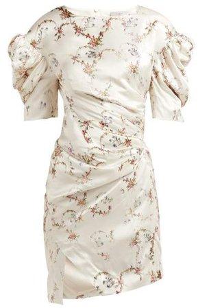 Greta Floral Print Puff Sleeve Satin Dress - Womens - Ivory