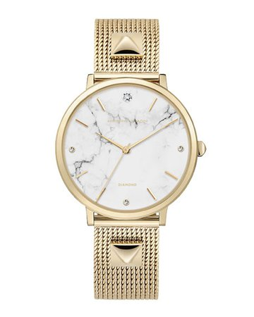 Adrienne Vittadini 36mm Crystal Watch with Mesh Bracelet, Marble/Gold