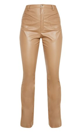Camel Faux Leather Pocket Detail Straight Trouser | PrettyLittleThing USA