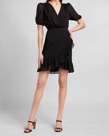 Clip Dot Ruffle Wrap Front Dress