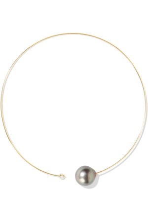 Gold 14-karat gold, pearl and diamond necklace | Mizuki | NET-A-PORTER