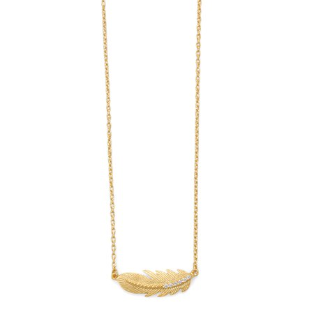 18 Karat Gold Plated Sideways CZ Feather Necklace - MW House of Style