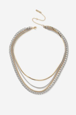 **Mixed Metal Multirow Necklace | Topshop