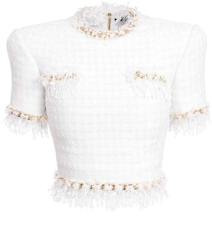 Feather-Trim Tweed Sequined Short-Sleeve Top