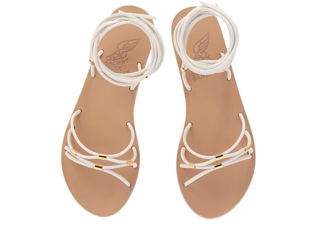 Persida Ice/Platinum Tubes Sandals by Ancient-Greek-Sandals.com