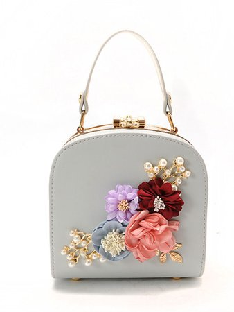 3D Flower Faux Pearl Detail Shoulder Bag