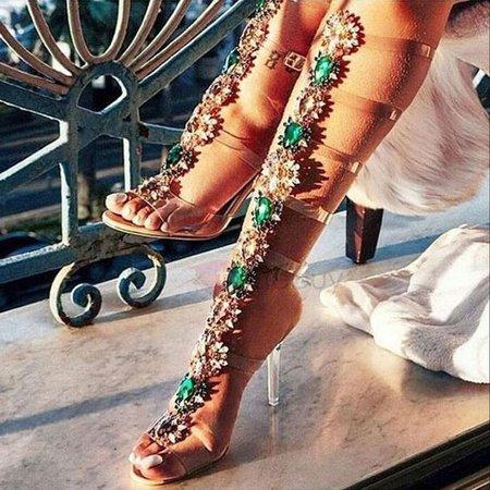 Pinterest - #fall #fashion #trends #styles #AdoreWe #TideBuy - #TideBuy PVC Rhinestone Buckle Strappy High Shaft Sandals - AdoreWe.com   TideBuy 2018