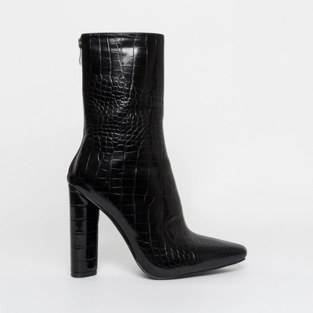 Katy Black Croc Block Heel Ankle Boots