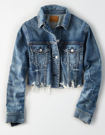 AE Raw Hem Cropped Denim Jacket, Medium Wash | American Eagle Outfitters