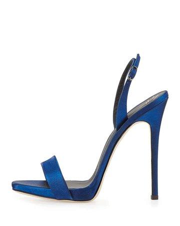 Lyst - Giuseppe Zanotti Satin Slingback Sandal Heel - Blue