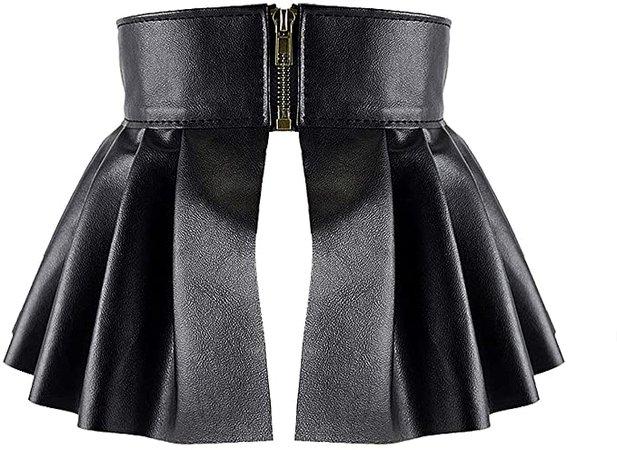 Chyoo Women Punk Ruffled Skirt Wide Waist Belt PU Leather Pleated Skirt Style Belt Elastic Peplum Cinch Skirt Belt Black One Size at Amazon Women's Clothing store