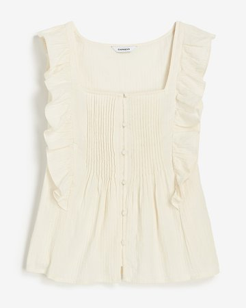 Ruffle Square Neck Tank | Express