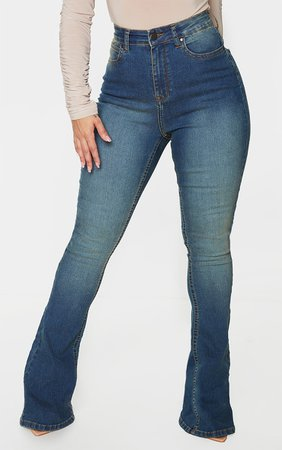Shape Vintage Wash High Waist Skinny Flared Jeans | PrettyLittleThing