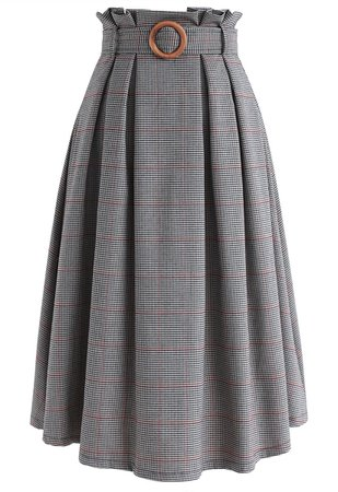 Wannabe Belted Houndstooth A-Line Skirt - Retro, Indie and Unique Fashion