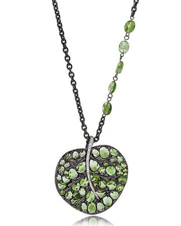 "Michael Aram 24"" Botanical Leaf Peridot & Diamond Pendant Necklace"