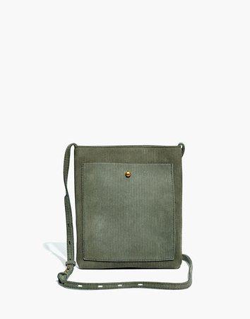 The Slim Brooklyn Crossbody Bag: Corduroy Suede Edition green
