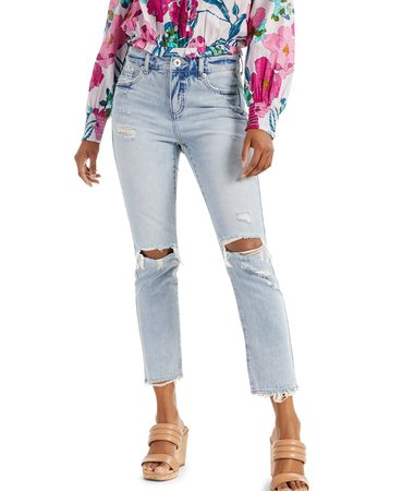 INC International Concepts INC Petite Ripped Straight-Leg Jeans, Created for Macy's & Reviews - Jeans - Petites - Macy's