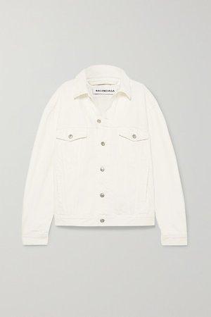 Oversized Embroidered Denim Jacket - White