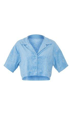 Pastel Blue Towelling Oversized Short Sleeve Crop Shirt   PrettyLittleThing USA