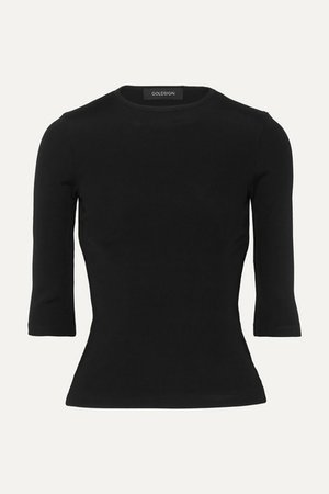 The Rib Stretch Cotton-blend Jersey Top - Black