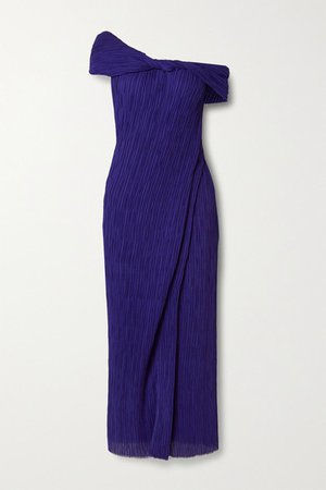 Off-the-shoulder Georgette Maxi Dress - Indigo