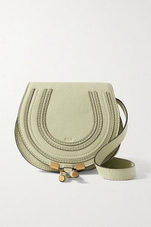 Marcie Mini Textured-leather Shoulder Bag - Gray green
