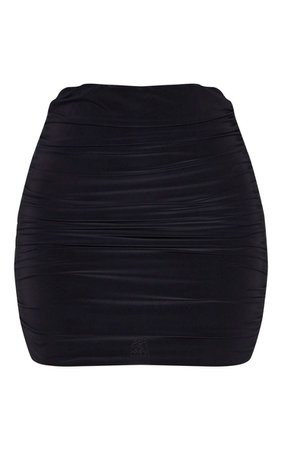 Black Slinky Ruched Mini Skirt | Skirts | PrettyLittleThing USA