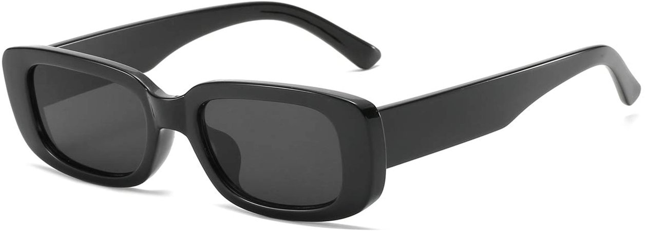 Amazon.com: Dollger Rectangle Sunglasses for Women Trendy 90s Retro Sunglasses Square Frame Black sunglasses: Clothing