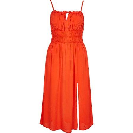Red spilt front midi beach dress | River Island