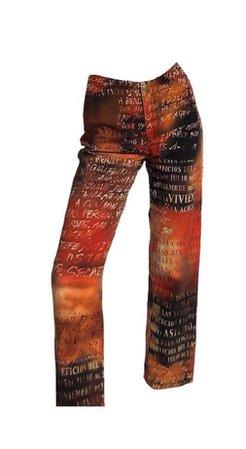 Red, Black, and Orange pants