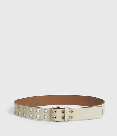 ALLSAINTS US: Womens Amelia Leather Belt (off_white)