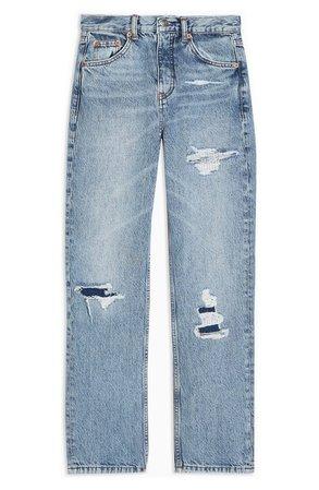 Topshop Bleach Rip Straight Leg Jeans | Nordstrom