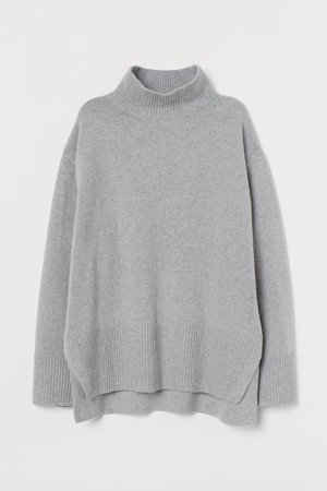 Knit Turtleneck Sweater - Light gray - Ladies | H&M US