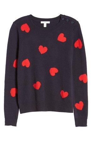 1901 Heart Pattern Cotton & Wool Blend Crewneck Sweater | Nordstrom