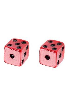 dice earrings red