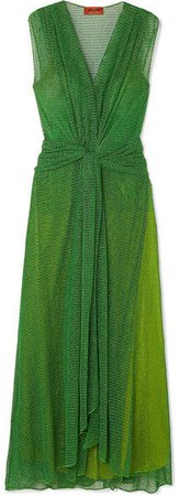 Twist-front Metallic Open-knit Maxi Dress - Green