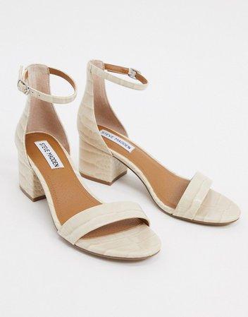 Steve Madden Irenee strappy block heeled sandal in bone croc | ASOS