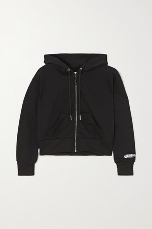Cropped Cotton-blend Jersey Hoodie - Black