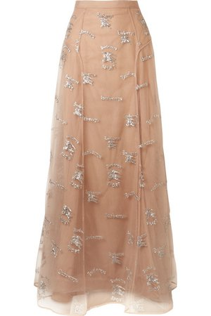Burberry   Sybilla embroidered tulle maxi skirt   NET-A-PORTER.COM