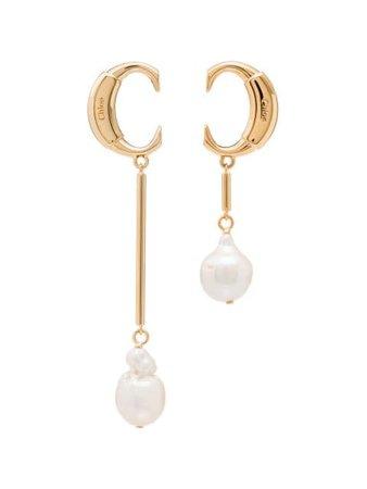 Chloé Darcey baroque-pearl drop earrings gold CHC19SFE73CPN - Farfetch