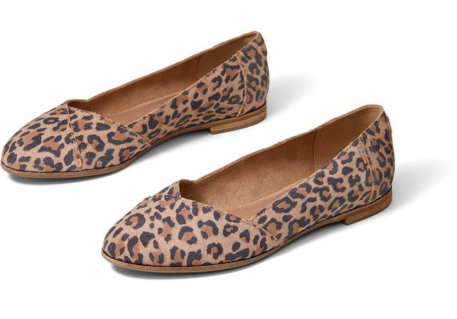 Desert Tan Leopard Print Suede Women's Julie Flats | TOMS®